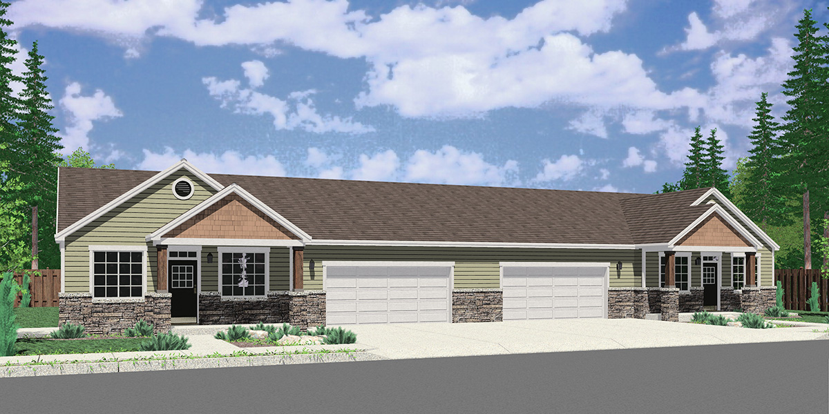 D-682 Ranch Style Duplex House Plan: 3 Bedroom, 2 Bath, with 2 Car Garage D-682