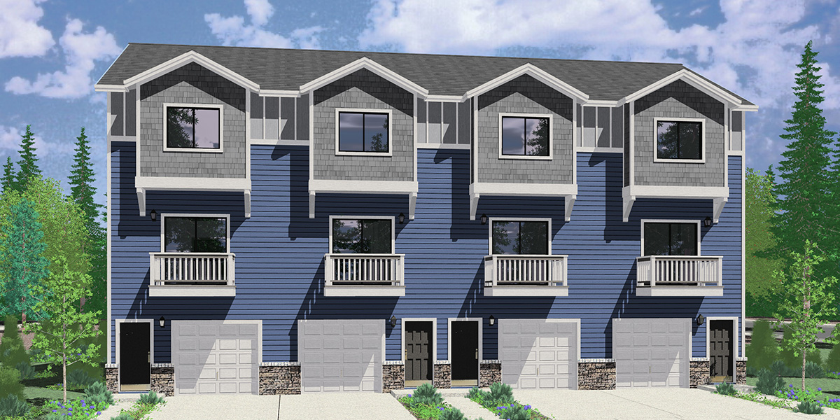 House front color elevation view for F-628 4 plex town house plan, narrow 16 ft wide units, F-628