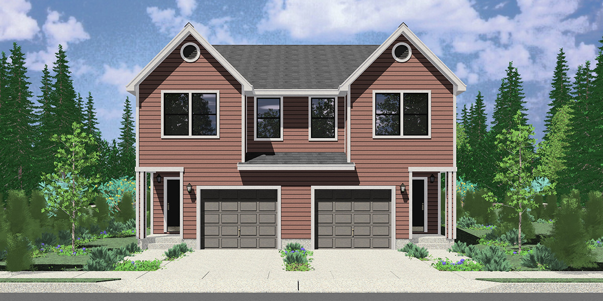 D-705 Narrow 36 ft wide duplex plan front elevation D-705